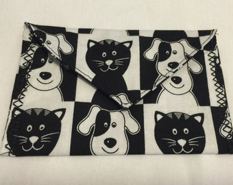 Cat and Dog fabric envelope