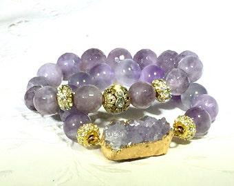 Amethyst Bead Bracelet Set