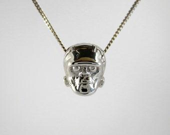 Frankenstein rhodium pendant - reversible