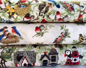FQ Bundle of Cream Beautiful Birds Cotton Fabric from the Beautiful Birds Collection by Elizabeth's Studio - 3 Fabrics