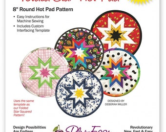 """Round Folded Star Hot Pad Pattern by PlumEasy Patterns - 8"""" Round Hot Pad Pattern"""