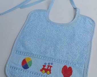 Babyboy bib- handmade- cotton bib- baby gift- baby shower gift- hand embroidered- cross-stitch- Bath and Beauty- Baby and Child Care- Bibs a