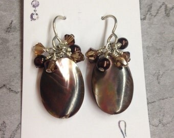 Brown Pearl Dangle Earrings