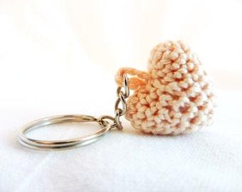 Crochet heart shape keychain
