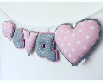 Personalized pink and grey name sign,name banner,name bunting,nursery decor,letter bunting,nursery wall hanging,gifts for kids,new baby gift