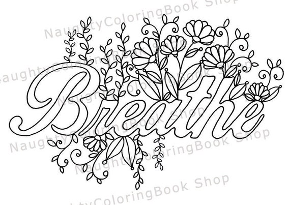 Breathe printable gift coloring page yoga gifts positive for Positive quotes coloring pages