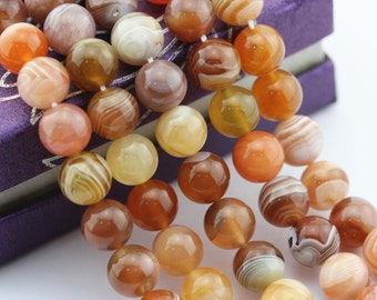Natural Red Botswana Agate Smooth Round Loose Beads 15.5'' Long Per Strand. Size: 6mm/8mm/10mm.R-S-AGA-0050