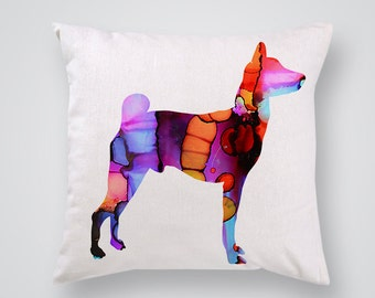 Decorative Pillow with Colorful Dog Print -  Pillow Cover - Throw Pillow - Home Decor