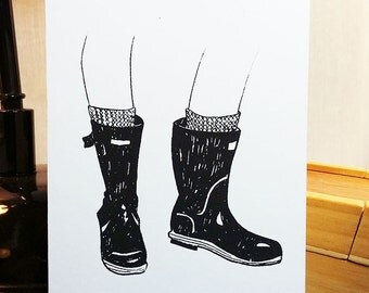 Wellies boots card, A6 hand screen printed