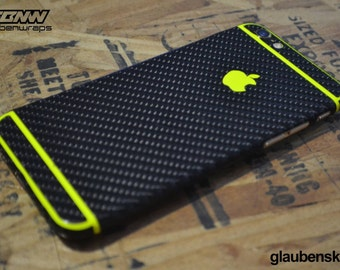 iphone 6 skin carbon fiber with neon