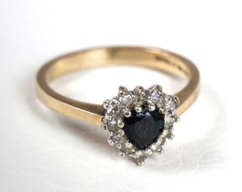 Vintage Ladies 9CT Gold Sapphire and Diamond Ring