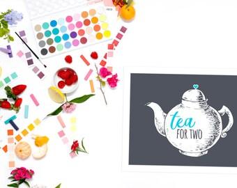 Teapot printable | Tea party decorations | tea decor | teapot decor | tea party printable | instant download art print | tea art print