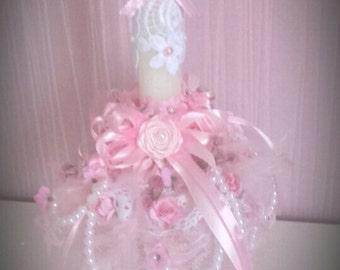 Decorating shabby romantic candleholder
