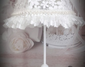 Lamp shabby chic romantic white lace