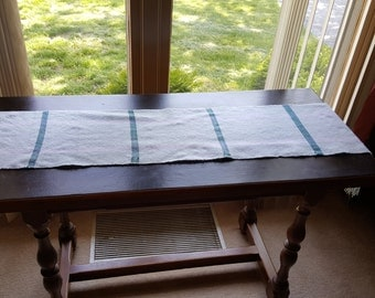 Long mint green table runner hand woven.