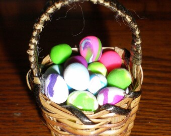 Miniature Wicker Easter Basket With Polymer Clay Colored Easter Eggs, 1:12 Scale, Basket #3