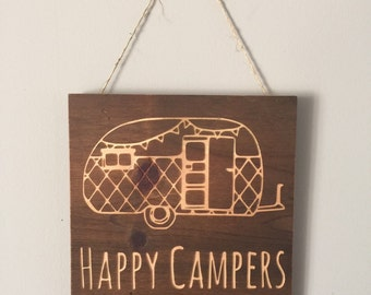Happy Campers Engraved Wood Sign