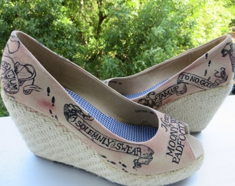 Harry Potter Marauder's Map Shoes Size 40 / UK 6,5/ US 9