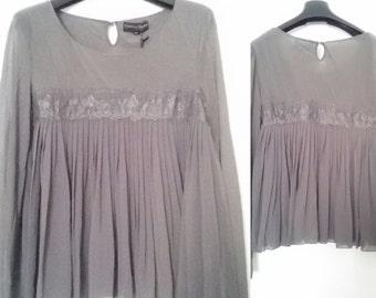 Long manicca shirt, gray color