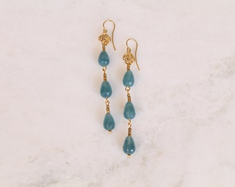 Aqua jade, dangle earrings