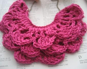 Pink crochet bib necklase