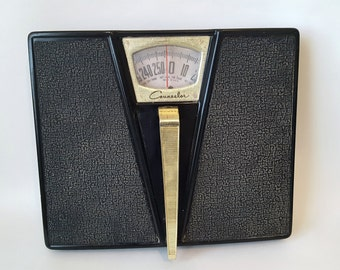 Midcentury Black and Brass Counselor Bathroom Scale Made in the USA