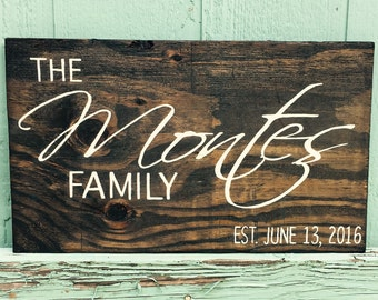 Wood Last Name Sign - Wooden Name Sign - Last Name Sign - Year Established Sign - Family Established Wood Sign - Wedding gift sign - 20x12