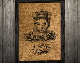 Animal print Cat poster Cat in crown print Burlap art BLP50