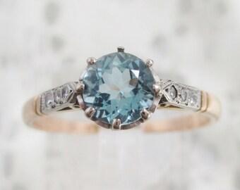 Divine Art Deco Aquamarine & Diamond engagement ring 18ct gold