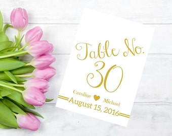 Printable Wedding Table Numbers 1-30 Personalized In An Antique Gold Font