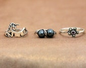 Sterling silver unicorn ring, Sterling silver wire black pearl ring, Sterling silver amethyst ring, Marcasite Ring