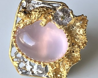 Size 8.0 Wildly beautiful Frog on Rose Quartz Pond Ring 14kt Gold over .925 Sterling Silver
