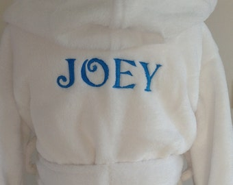 Personalised Dressing Gown name only for 0-6 mths to 9-10 years White Blue or Pink robes Babies to kids sizes
