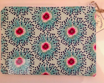 """8"""" Make Up Bag  - Turquoise Flowers"""