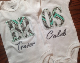 Twin Brothers Personalized Onesies