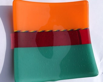 Orange, turquoise and red fused glass dish