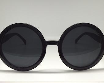 Women's Black Round Retro Sunglasss