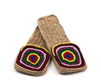 Stylish women's Indian knitted house slippers with bright pattern, Natural eco-friendly shoes, Organic gift,Gift for women,Natural materials