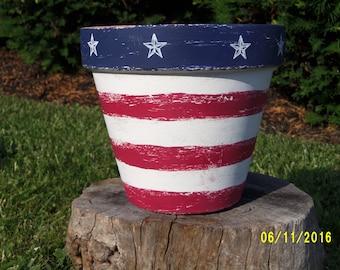 Unique Hand Painted Americana Terra Cotta Pot