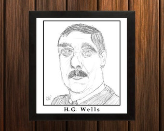 H.G. Wells - Sketch Print - 8.5x9 inches - Black and White - Pen Caricature