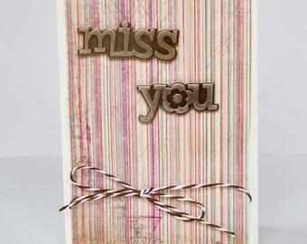 Miss you metal wording greeting card