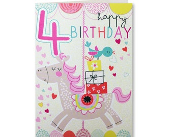 4 Today - 4th Birthday Card - Girl - Four Today - Happy Birthday - Birthday Card - Birthday Greeting Card - Cute Card - Lets Go - LG12