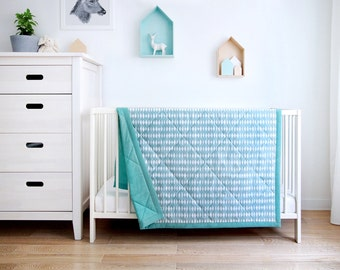Blue Cotton Quilt for Kids 120x170 cm, Kids bed throw, Kid's room bed cover, Modern Quilt 120x170 cm in geometric print, quilted bedcover