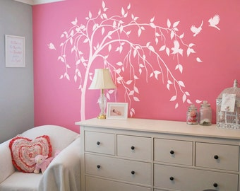 Willow tree decal Large tree decal White tree decal Temporary wall decal White tree wall sticker Tree and birds wall decal -AM011