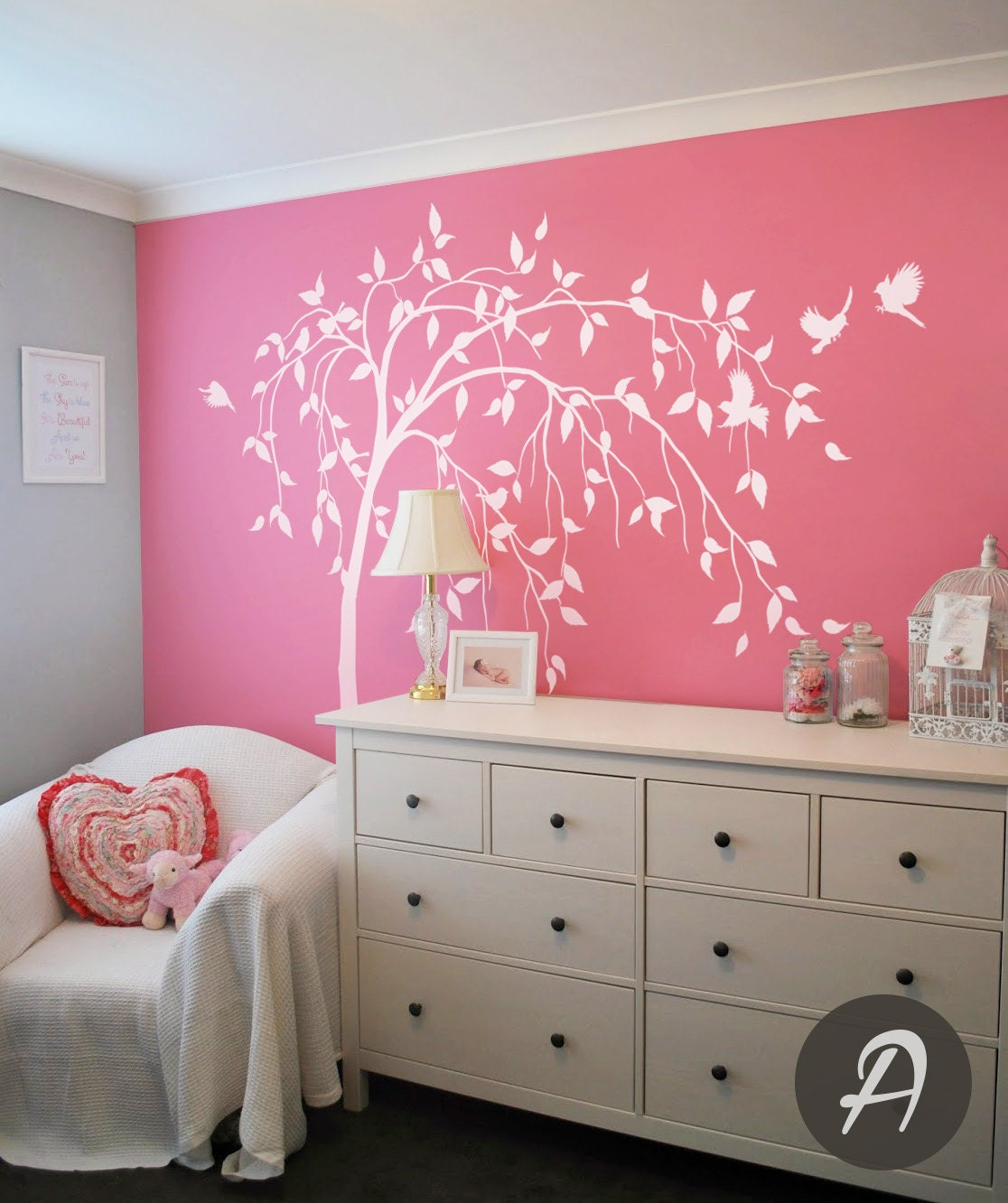 Willow Tree Decal Large Tree Decal White Tree Decal Temporary