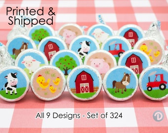 Farm Birthday Party Favors, Barnyard Birthday Party Decorations, Farm Animals Birthday Party, Pig Cow Sheep Chicken (324 Stickers)
