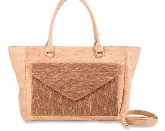 Ladies handbag made of cork, handle bag