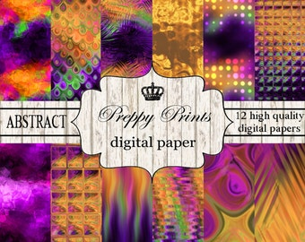 Digital paper pack, Printable paper pack, Scrapbook patterns, Digital collage sheets, Gold purple abstract papers, Digital paper printable,