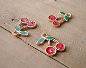 5 Enamel cherry charms in gold tone EC2