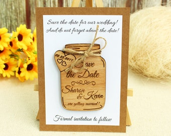 Mason Jar save the date with card save the date magnet wedding save the date wood wedding save the date rustic save the date rustic wedding